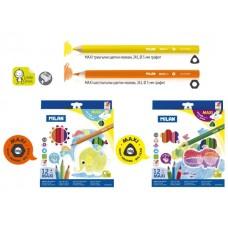 Цветни моливи MILAN 241 Maxi+ острилка, 12 цвята