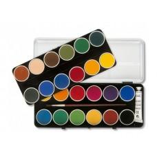 Бои акварел PRIMO, 24 цвята вадещи се + тубичка бяла боя в метална кутия