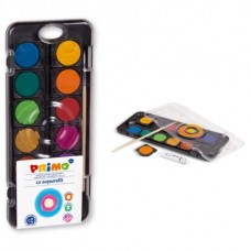 Бои акварелни PRIMO, 12 цвята, капак палитра + бяла боя в тубичка