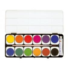 Бои акварелни PRIMO, 12 цвята вадещи се+бяла темпера в тубичка