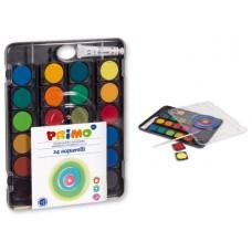 Бои акварелни PRIMO, 24 цвята, капак палитра
