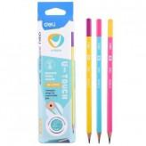 Молив без гума DELI U-TOUCH HB триъгълен с цветно тяло EU53000