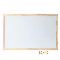 Бяла дъска 30х40 см с дървена рамка