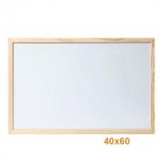 Бяла дъска 40х60 см с дървена рамка