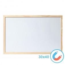 Бяла магнитна дъска 30х40 см с дървена рамка