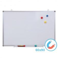 Бяла магнитна дъска 60х90 см с алуминиева рамка