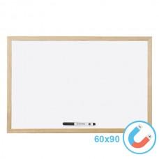 Бяла магнитна дъска 60х90 см с дървена рамка