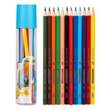 Цветни моливи DELI 12 цвята в пластмасов тубус