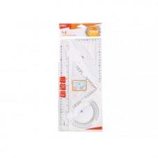 Комплект за чертане - линия 30 см, триъг.12 см 60°, трансп. DELI