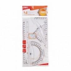 Комплект за чертане DELI - линия 20см., триъгълник 14см. и транспортир