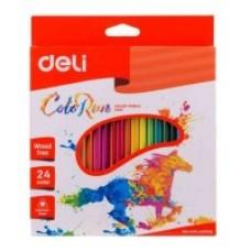 Цветни моливи Deli Colorun  PP, 24 цвята