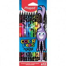 Цветни моливи MAPED COLOR PEPS MONSTER 12 цвята