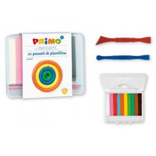 Пластелин PRIMO, 10 цвята 300 гр., в PPL кутия, 2 двустранни ножчета